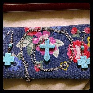 Jewelry - Southwest Turquoise Cross Necklace & Earrings